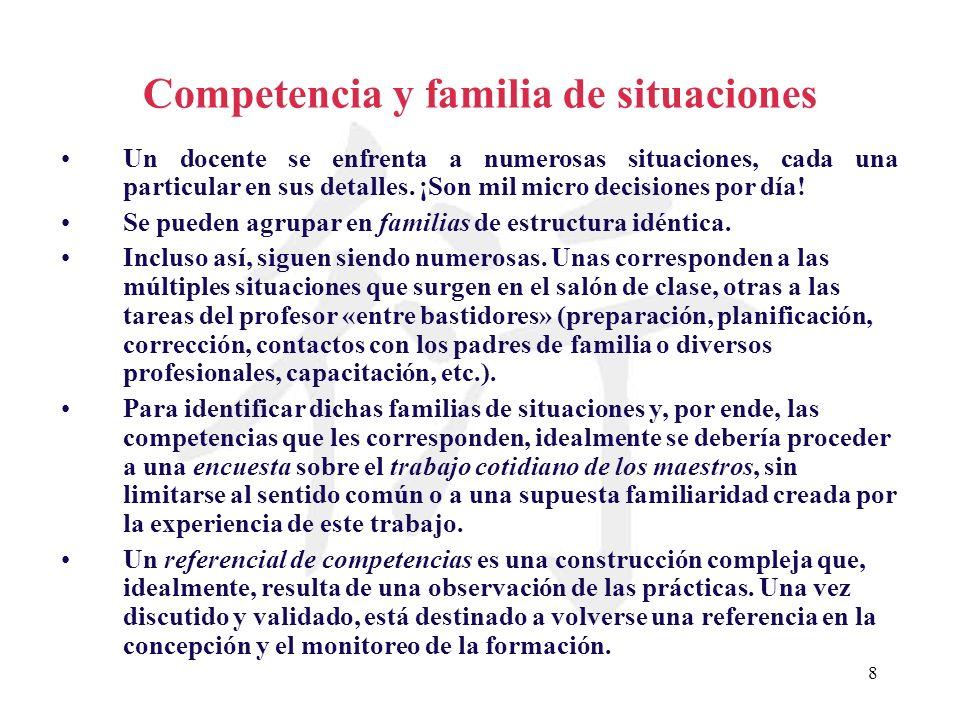 8 Competencia y familia de situaciones Un docente se enfrenta a numerosas situaciones, cada una particular en sus detalles. ¡Son mil micro decisiones