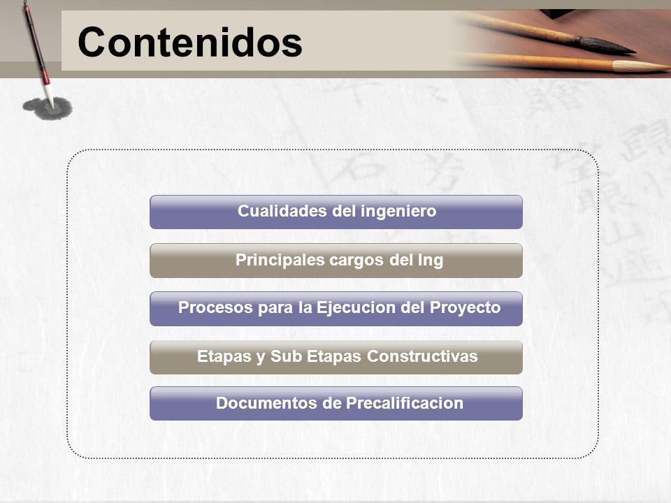Principales cargos del Ing Procesos para la Ejecucion del Proyecto Etapas y Sub Etapas Constructivas Documentos de Precalificacion Cualidades del inge