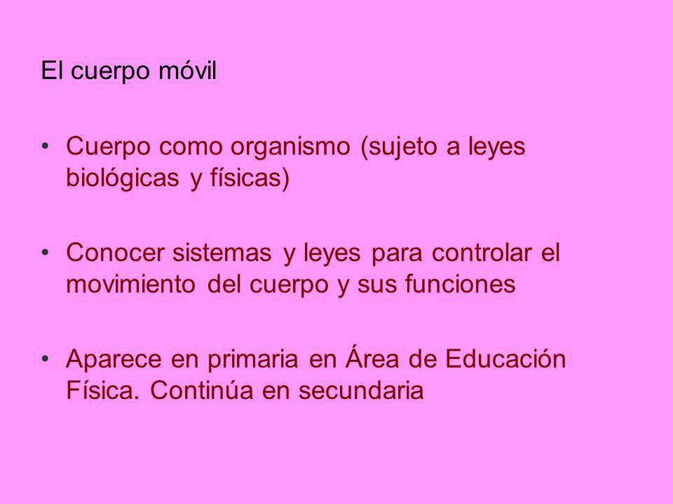 El cuerpo móvil Cuerpo como organismo (sujeto a leyes biológicas y físicas) Conocer sistemas y leyes para controlar el movimiento del cuerpo y sus fun