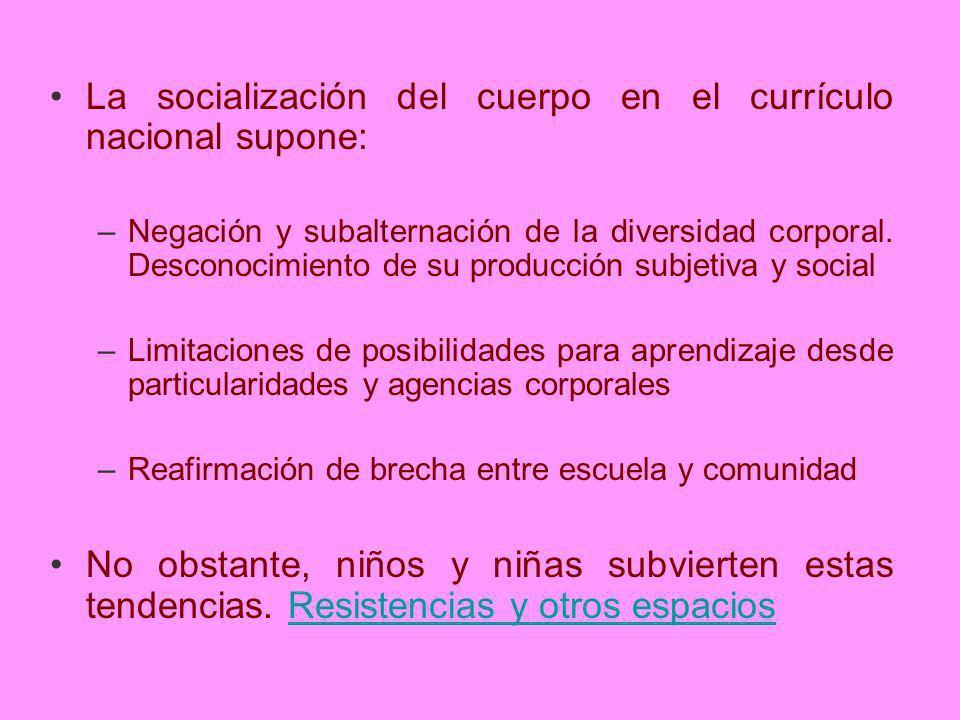 La socialización del cuerpo en el currículo nacional supone: –Negación y subalternación de la diversidad corporal. Desconocimiento de su producción su