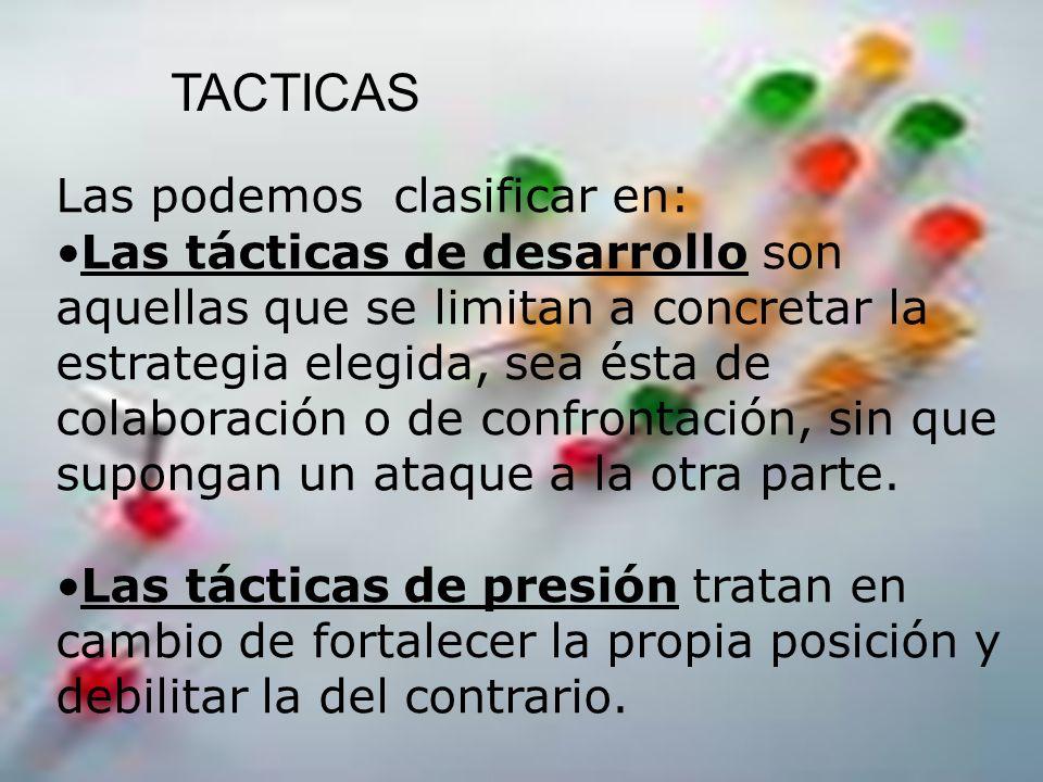 TACTICAS Las podemos clasificar en: Las tácticas de desarrollo son aquellas que se limitan a concretar la estrategia elegida, sea ésta de colaboración