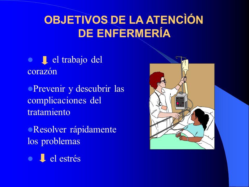 el trabajo del corazón Prevenir y descubrir las complicaciones del tratamiento Resolver rápidamente los problemas el estrés OBJETIVOS DE LA ATENCÌÓN D