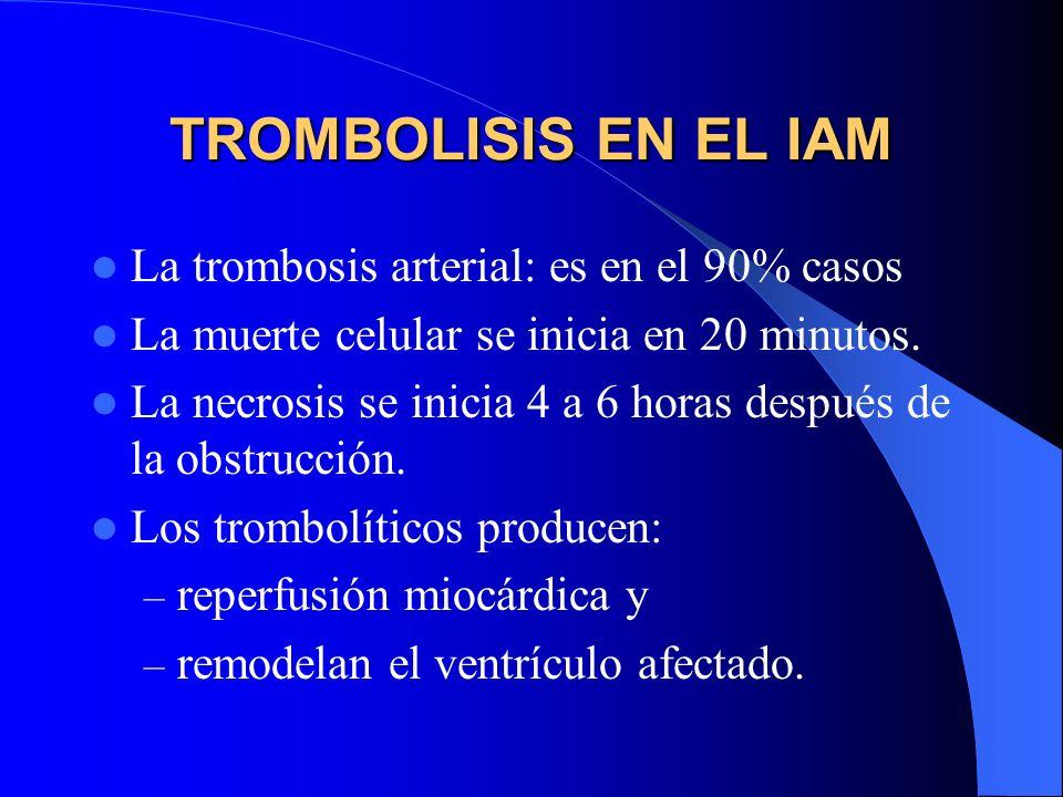 TROMBOLISIS EN EL IAM La trombosis arterial: es en el 90% casos La muerte celular se inicia en 20 minutos. La necrosis se inicia 4 a 6 horas después d