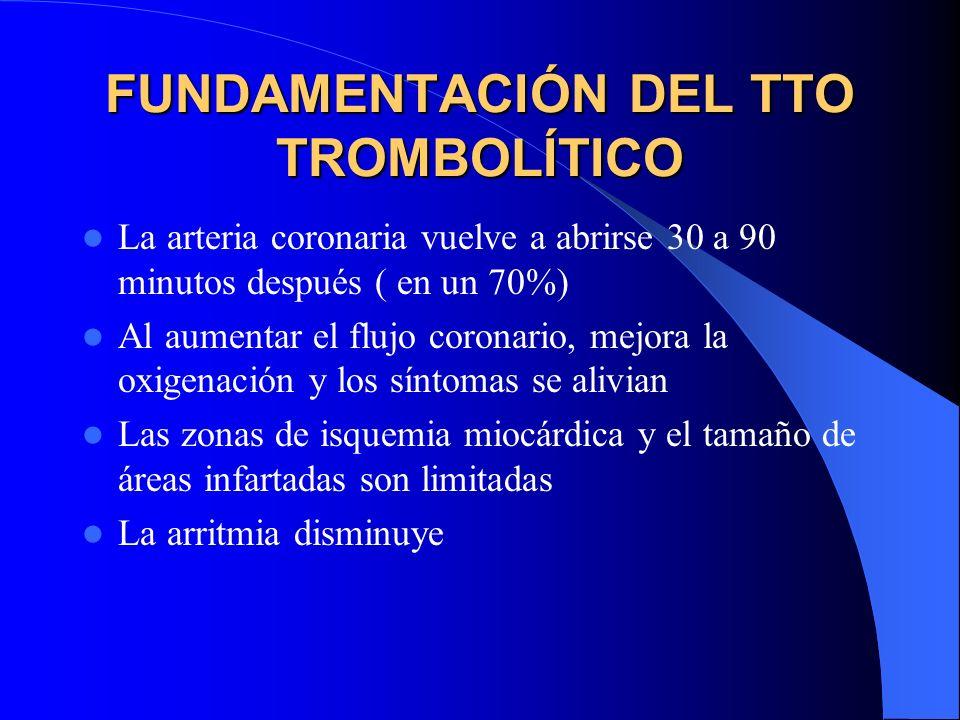 FUNDAMENTACIÓN DEL TTO TROMBOLÍTICO La arteria coronaria vuelve a abrirse 30 a 90 minutos después ( en un 70%) Al aumentar el flujo coronario, mejora