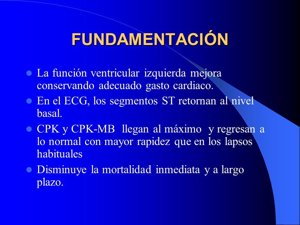 FUNDAMENTACIÓN La función ventricular izquierda mejora conservando adecuado gasto cardiaco. En el ECG, los segmentos ST retornan al nivel basal. CPK y