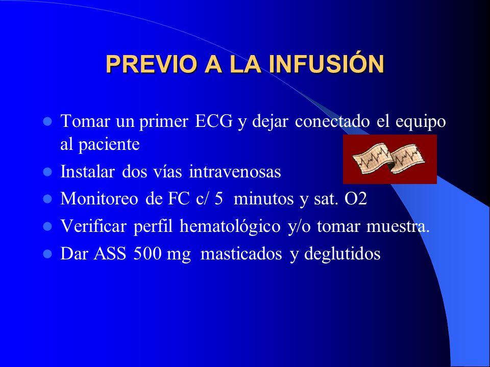 PREVIO A LA INFUSIÓN Tomar un primer ECG y dejar conectado el equipo al paciente Instalar dos vías intravenosas Monitoreo de FC c/ 5 minutos y sat. O2
