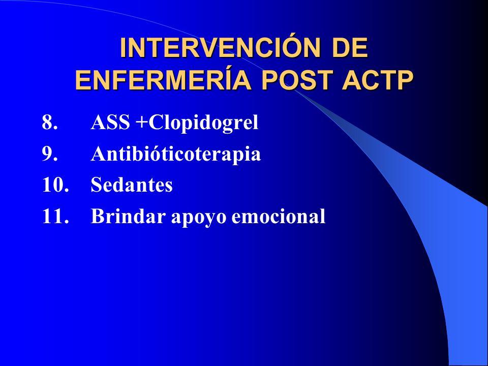 INTERVENCIÓN DE ENFERMERÍA POST ACTP 8.ASS +Clopidogrel 9.Antibióticoterapia 10.Sedantes 11.Brindar apoyo emocional