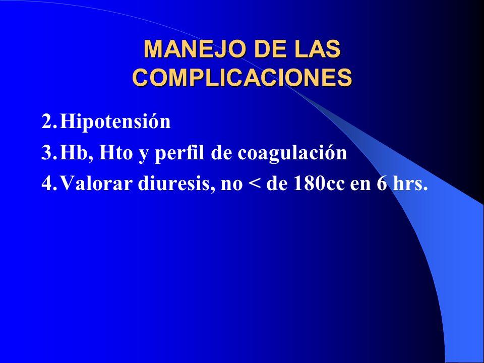MANEJO DE LAS COMPLICACIONES 2.Hipotensión 3.Hb, Hto y perfil de coagulación 4.Valorar diuresis, no < de 180cc en 6 hrs.