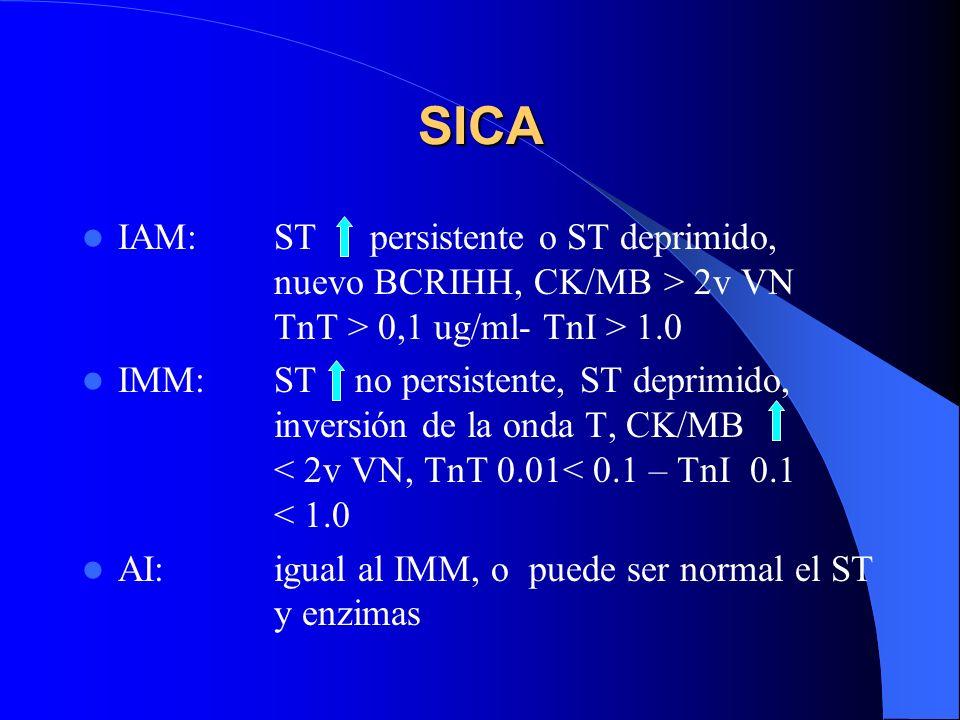 SICA IAM: ST persistente o ST deprimido, nuevo BCRIHH, CK/MB > 2v VN TnT > 0,1 ug/ml- TnI > 1.0 IMM:ST no persistente, ST deprimido, inversión de la o