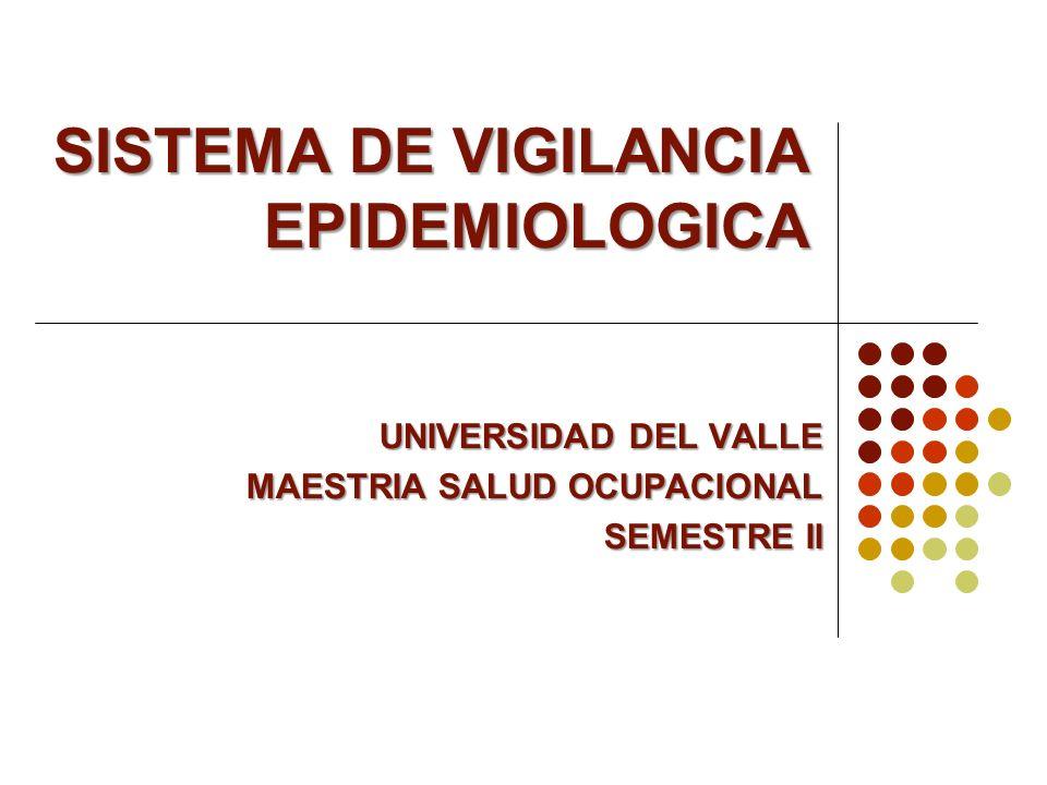 SISTEMA DE VIGILANCIA EPIDEMIOLOGICA UNIVERSIDAD DEL VALLE MAESTRIA SALUD OCUPACIONAL SEMESTRE II