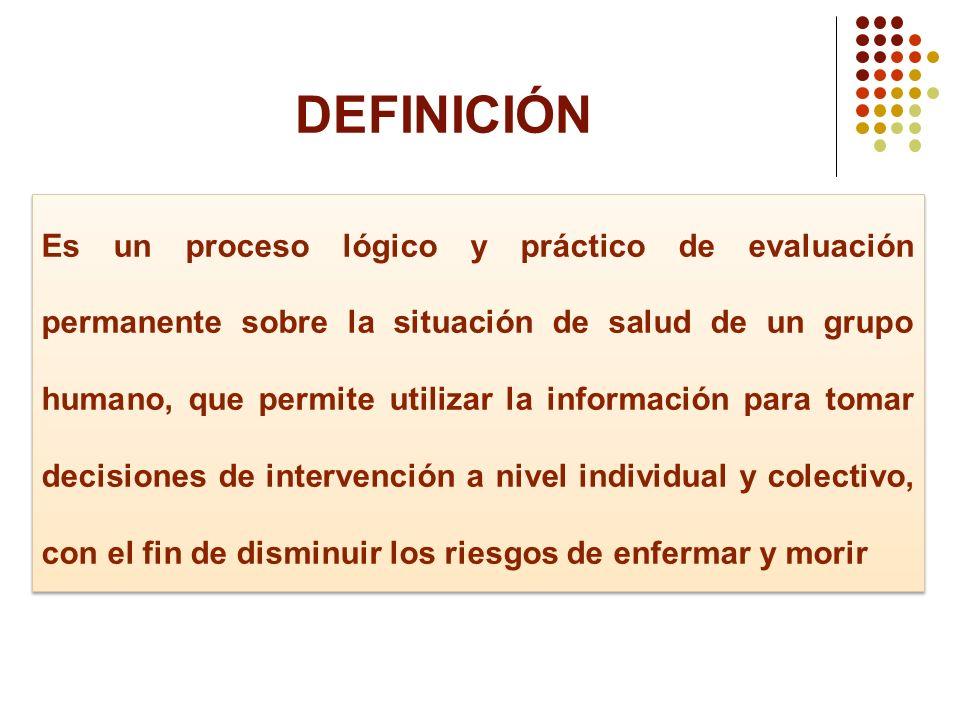 DEFINICIÓN Es un proceso lógico y práctico de evaluación permanente sobre la situación de salud de un grupo humano, que permite utilizar la informació