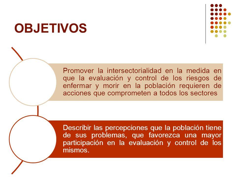 OBJETIVOS Promover la intersectorialidad en la medida en que la evaluación y control de los riesgos de enfermar y morir en la población requieren de a