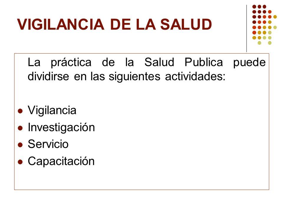 VIGILANCIA DE LA SALUD La práctica de la Salud Publica puede dividirse en las siguientes actividades: Vigilancia Investigación Servicio Capacitación
