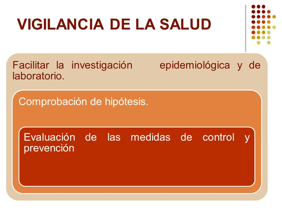 VIGILANCIA DE LA SALUD Facilitar la investigación epidemiológica y de laboratorio. Comprobación de hipótesis. Evaluación de las medidas de control y p