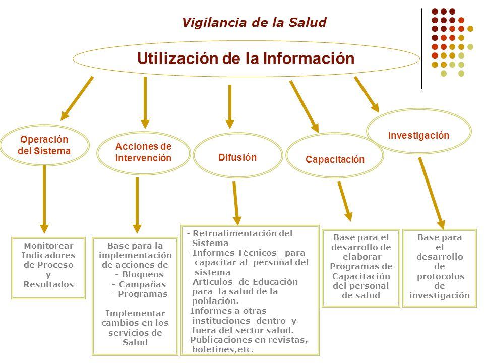 Utilización de la Información Operación del Sistema Acciones de Intervención Difusión Investigación Monitorear Indicadores de Proceso y Resultados Bas