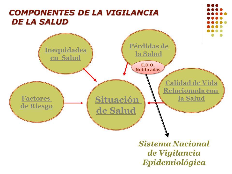 COMPONENTES DE LA VIGILANCIA DE LA SALUD DE LA SALUD Inequidades en Salud Factores de Riesgo Calidad de Vida Relacionada con la Salud Situación de Sal
