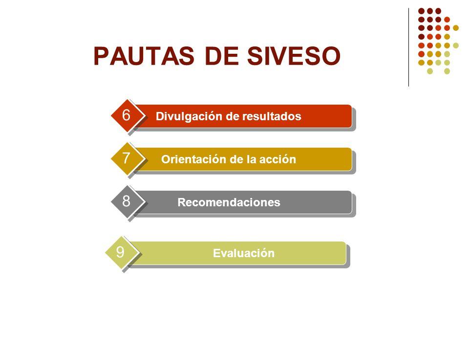 Divulgación de resultados 6 Orientación de la acción 7 Recomendaciones 8 Evaluación 9 PAUTAS DE SIVESO