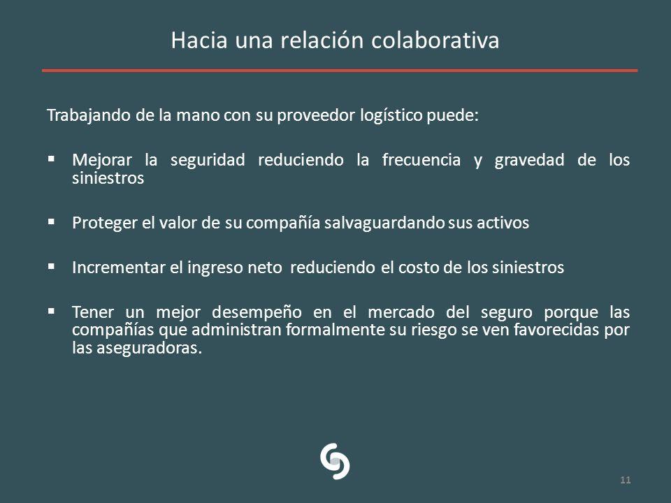 Hacia una relación colaborativa Trabajando de la mano con su proveedor logístico puede: Mejorar la seguridad reduciendo la frecuencia y gravedad de lo
