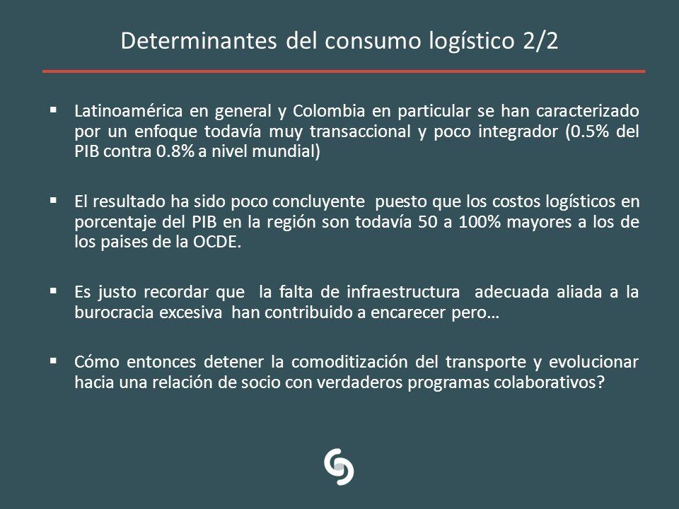 Determinantes del consumo logístico 2/2 Latinoamérica en general y Colombia en particular se han caracterizado por un enfoque todavía muy transacciona
