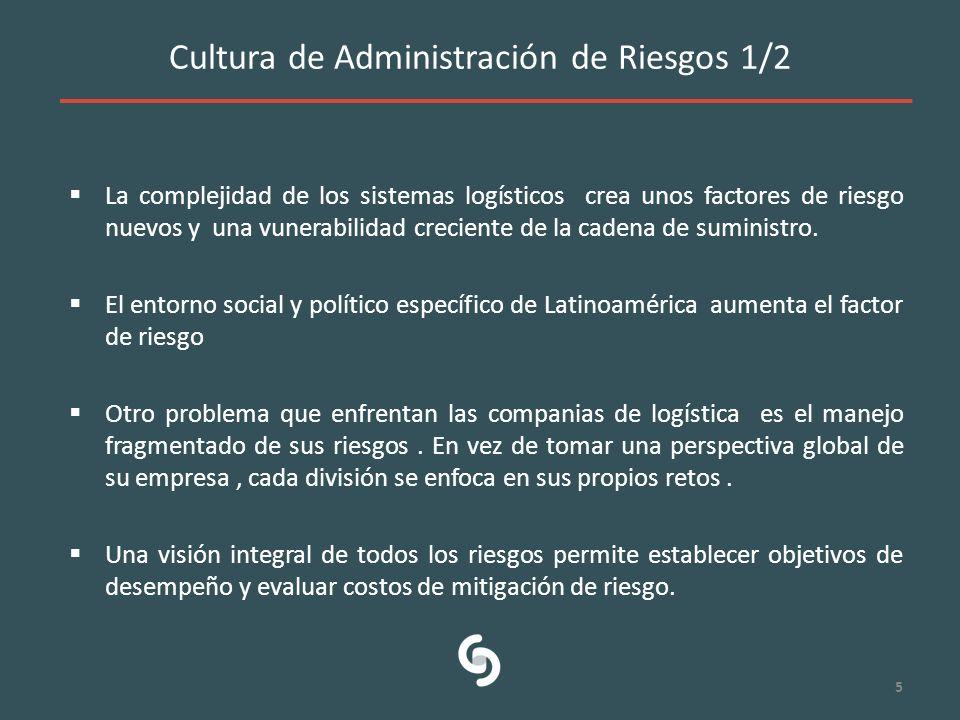 Cultura de Administración de Riesgos 1/2 La complejidad de los sistemas logísticos crea unos factores de riesgo nuevos y una vunerabilidad creciente d
