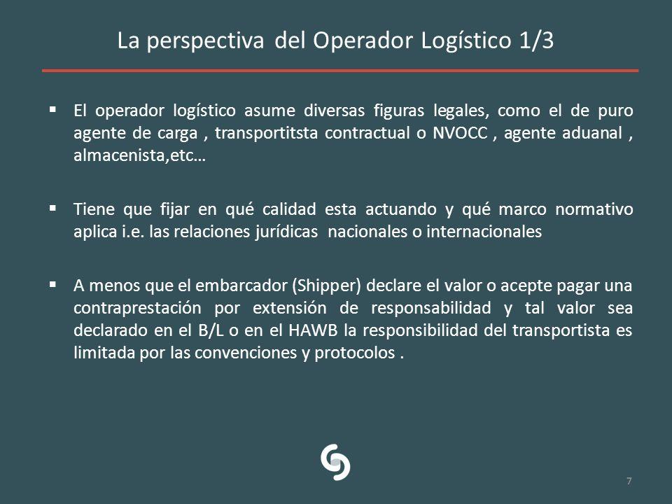 La perspectiva del Operador Logístico 1/3 El operador logístico asume diversas figuras legales, como el de puro agente de carga, transportitsta contra