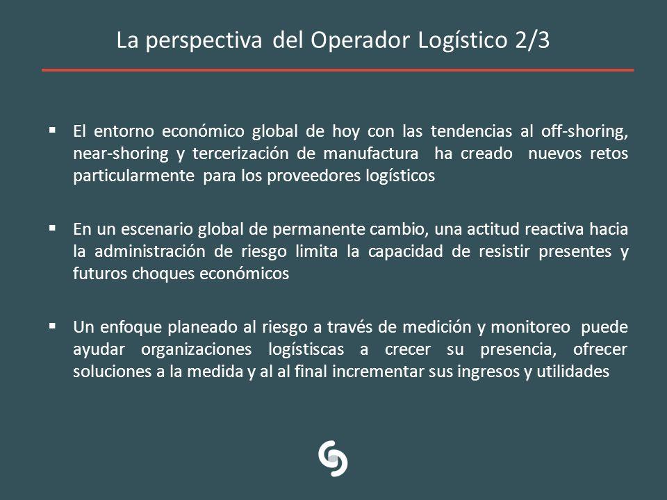 La perspectiva del Operador Logístico 2/3 El entorno económico global de hoy con las tendencias al off-shoring, near-shoring y tercerización de manufa
