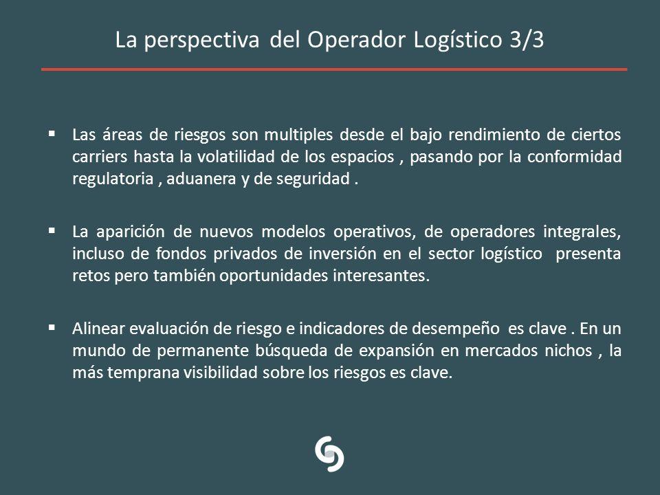 La perspectiva del Operador Logístico 3/3 Las áreas de riesgos son multiples desde el bajo rendimiento de ciertos carriers hasta la volatilidad de los