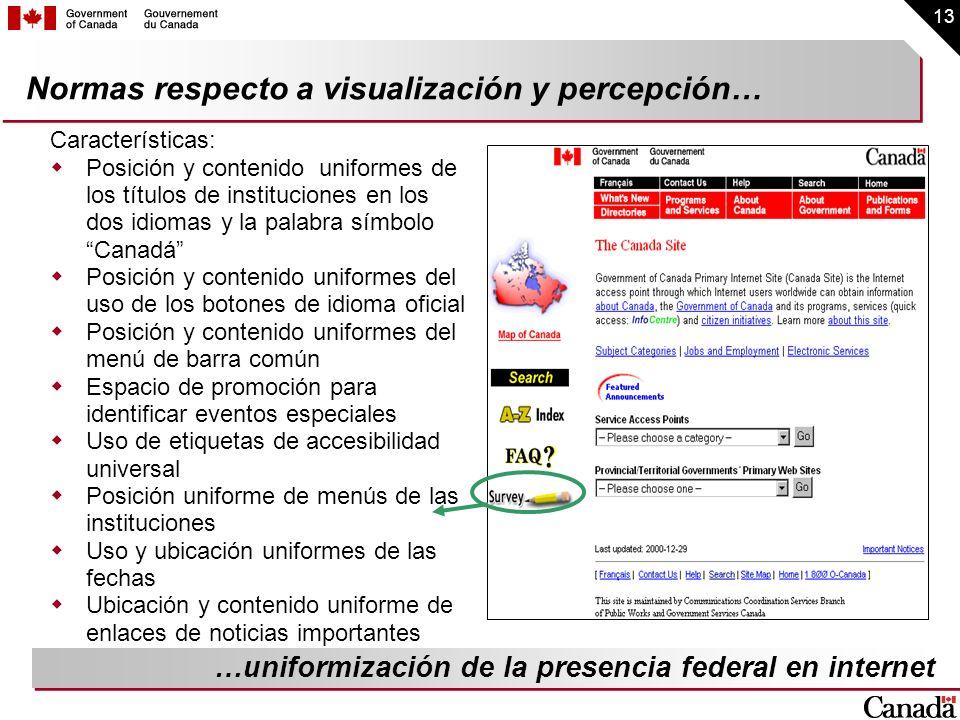 13 Normas respecto a visualización y percepción… Características: Posición y contenido uniformes de los títulos de instituciones en los dos idiomas y