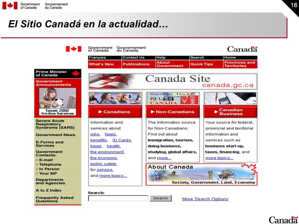 16 El Sitio Canadá en la actualidad…