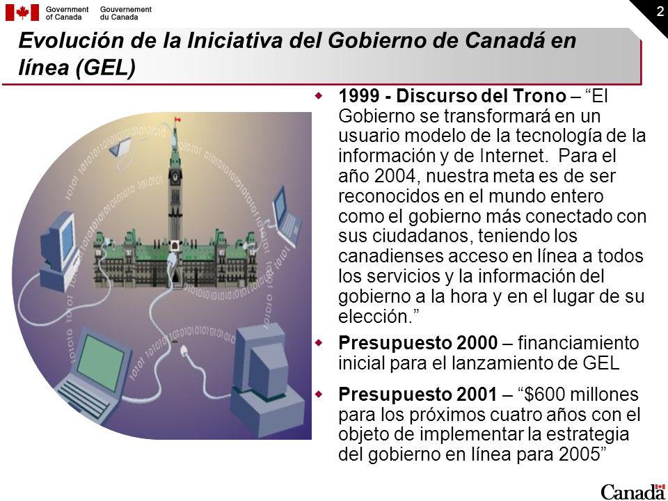 2 1999 - Discurso del Trono – El Gobierno se transformará en un usuario modelo de la tecnología de la información y de Internet. Para el año 2004, nue