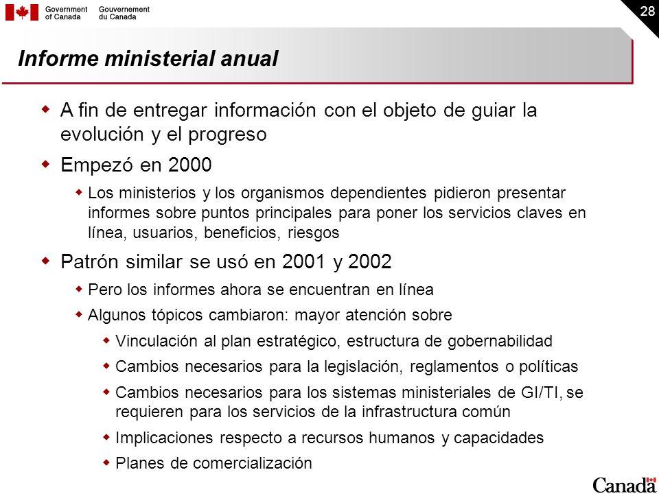 28 Informe ministerial anual A fin de entregar información con el objeto de guiar la evolución y el progreso Empezó en 2000 Los ministerios y los orga