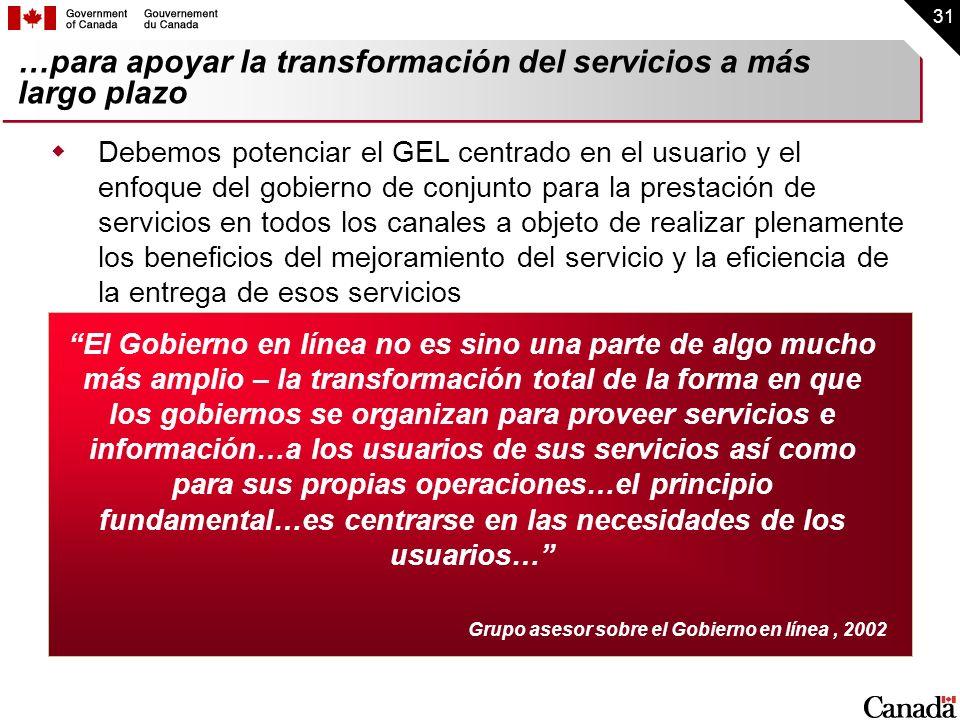 31 …para apoyar la transformación del servicios a más largo plazo Debemos potenciar el GEL centrado en el usuario y el enfoque del gobierno de conjunt