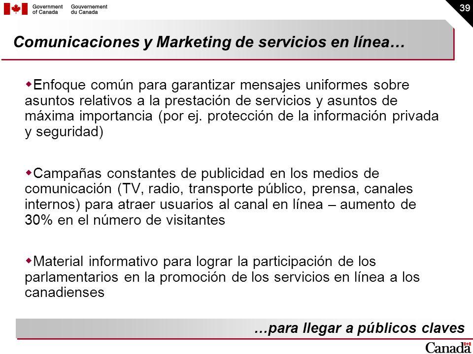39 Comunicaciones y Marketing de servicios en línea… Enfoque común para garantizar mensajes uniformes sobre asuntos relativos a la prestación de servi
