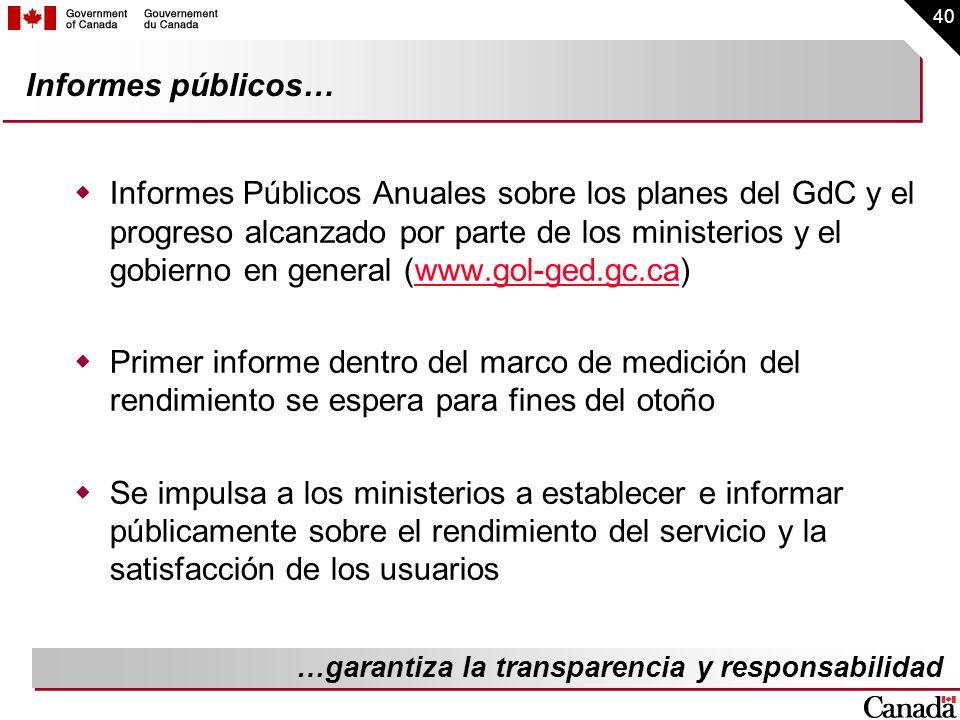 40 Informes públicos… Informes Públicos Anuales sobre los planes del GdC y el progreso alcanzado por parte de los ministerios y el gobierno en general