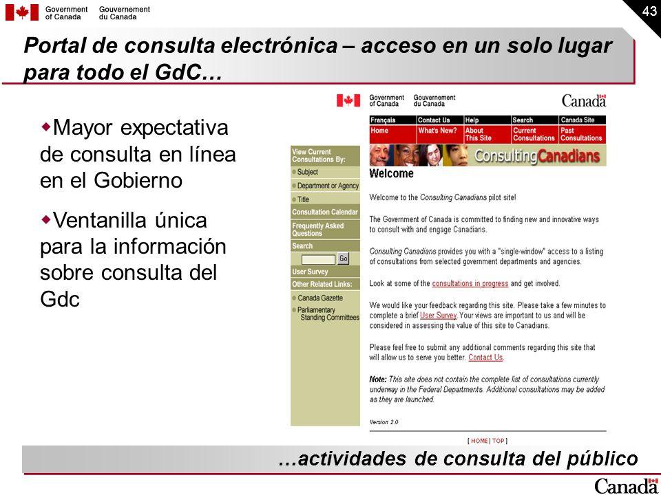 43 Portal de consulta electrónica – acceso en un solo lugar para todo el GdC… Mayor expectativa de consulta en línea en el Gobierno Ventanilla única p