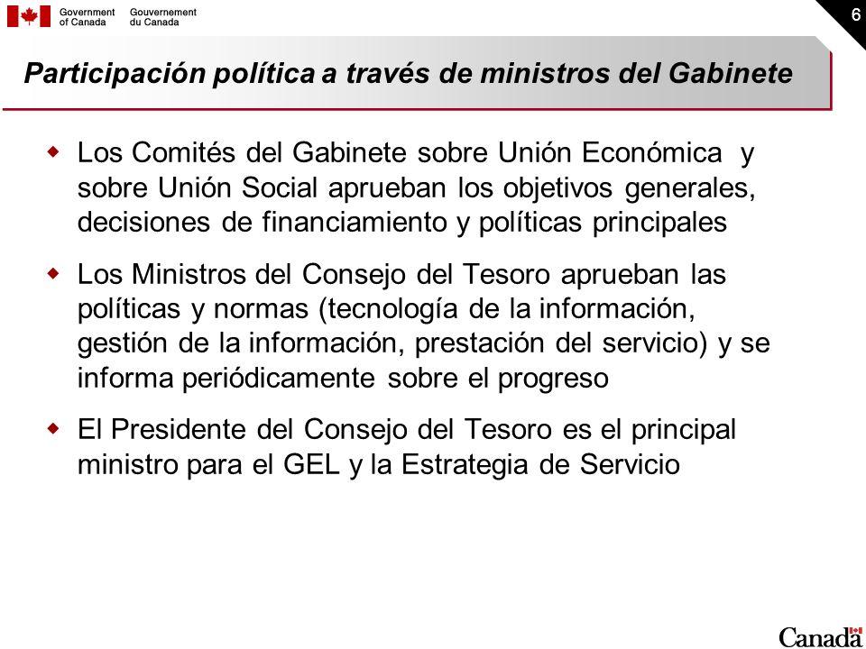 6 Participación política a través de ministros del Gabinete Los Comités del Gabinete sobre Unión Económica y sobre Unión Social aprueban los objetivos