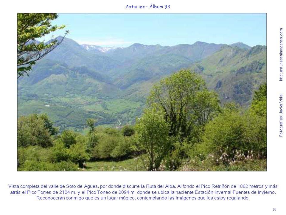 10 Asturias - Álbum 93 Fotografías: Javier Vidal http: asturiasenimagenes.com Vista completa del valle de Soto de Agues, por donde discurre la Ruta del Alba.