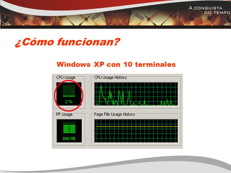 Windows XP con 10 terminales ¿Cómo funcionan? Windows XP con 10 terminales