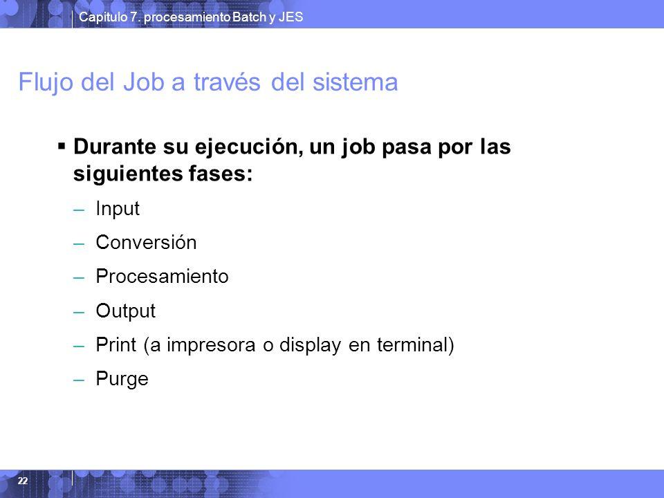 Capitulo 7. procesamiento Batch y JES 22 Flujo del Job a través del sistema Durante su ejecución, un job pasa por las siguientes fases: – Input – Conv