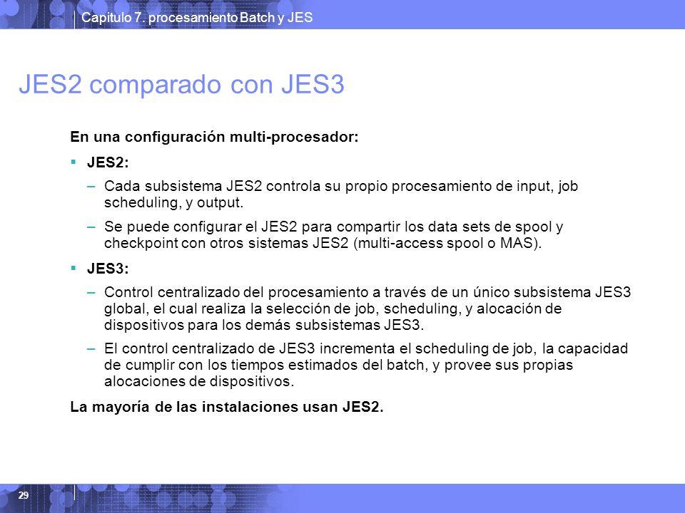 Capitulo 7. procesamiento Batch y JES 29 JES2 comparado con JES3 En una configuración multi-procesador: JES2: –Cada subsistema JES2 controla su propio
