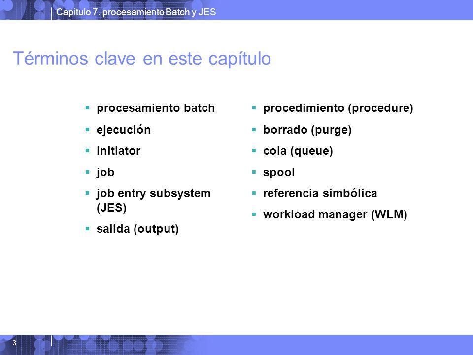 Capitulo 7. procesamiento Batch y JES 3 Términos clave en este capítulo procesamiento batch ejecución initiator job job entry subsystem (JES) salida (