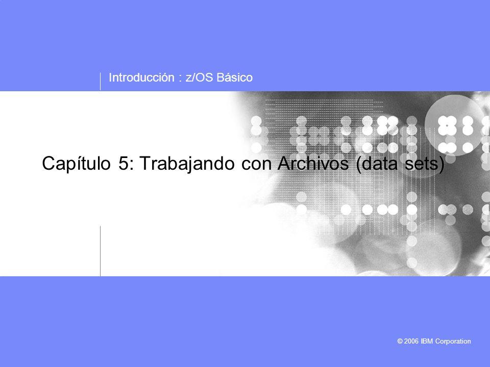 Introducción : z/OS Básico © 2006 IBM Corporation Capítulo 5: Trabajando con Archivos (data sets)