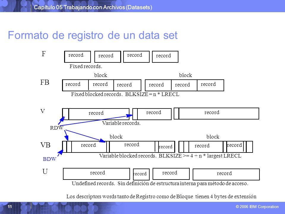 Capítulo 05 Trabajando con Archivos (Datasets) © 2006 IBM Corporation 11 Formato de registro de un data set