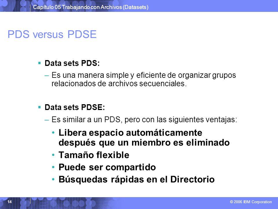 Capítulo 05 Trabajando con Archivos (Datasets) © 2006 IBM Corporation 14 PDS versus PDSE Data sets PDS: –Es una manera simple y eficiente de organizar
