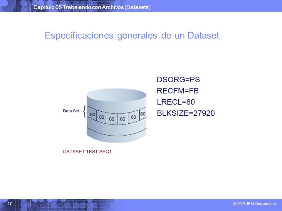 Capítulo 05 Trabajando con Archivos (Datasets) © 2006 IBM Corporation 17 Especificaciones generales de un Dataset