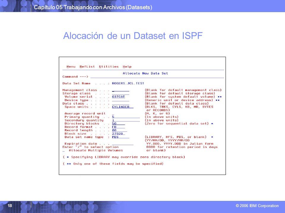 Capítulo 05 Trabajando con Archivos (Datasets) © 2006 IBM Corporation 18 Alocación de un Dataset en ISPF