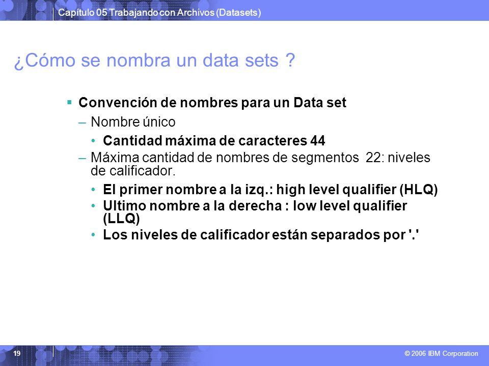 Capítulo 05 Trabajando con Archivos (Datasets) © 2006 IBM Corporation 19 ¿Cómo se nombra un data sets ? Convención de nombres para un Data set –Nombre