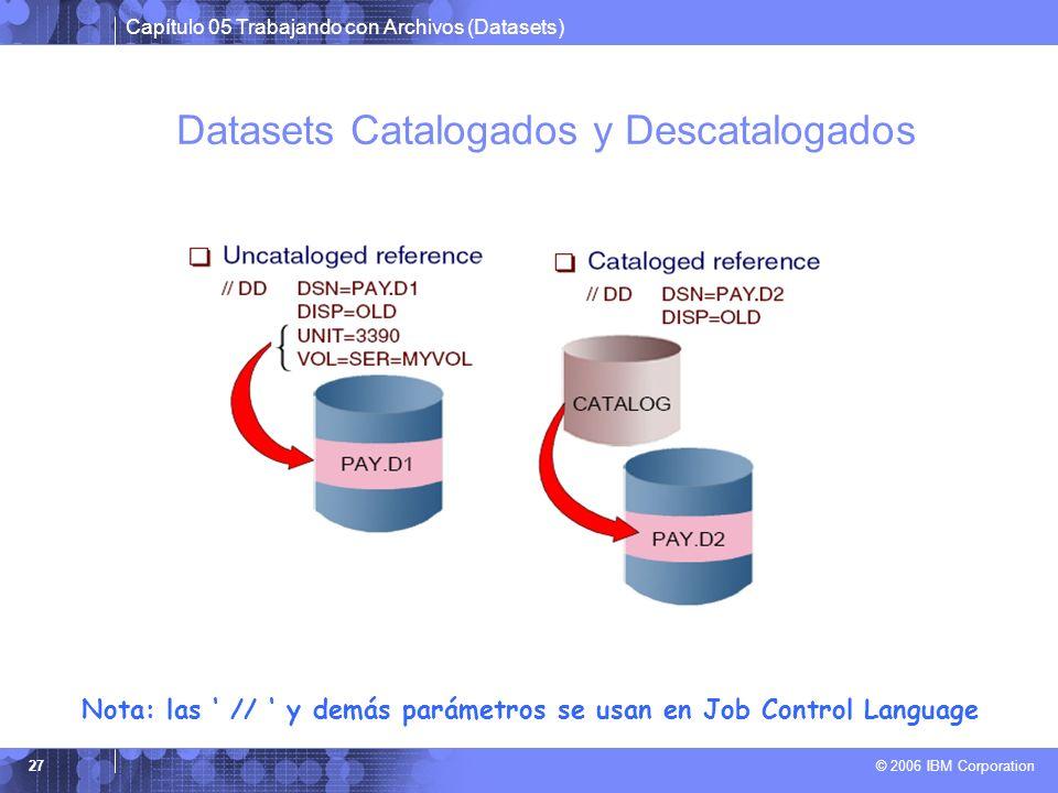 Capítulo 05 Trabajando con Archivos (Datasets) © 2006 IBM Corporation 27 Datasets Catalogados y Descatalogados Nota: las // y demás parámetros se usan