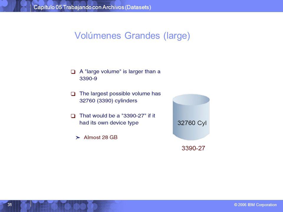 Capítulo 05 Trabajando con Archivos (Datasets) © 2006 IBM Corporation 31 Volúmenes Grandes (large)