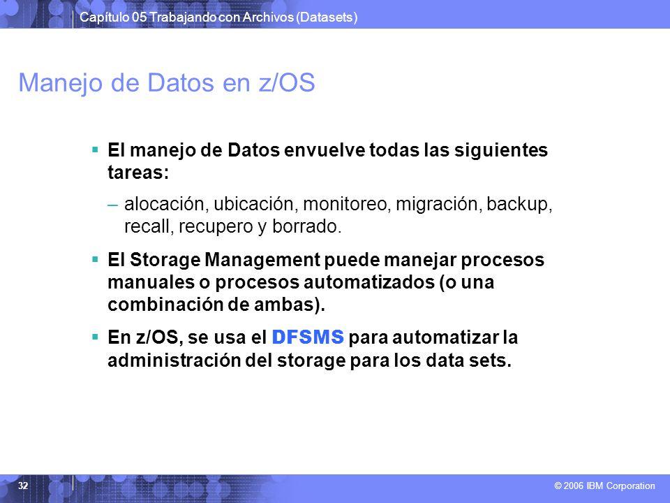Capítulo 05 Trabajando con Archivos (Datasets) © 2006 IBM Corporation 32 Manejo de Datos en z/OS El manejo de Datos envuelve todas las siguientes tare